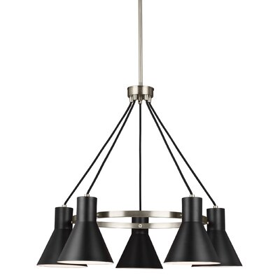 Alton 5-Light Modern Shaded Chandelier Finish: Brushed Nickel