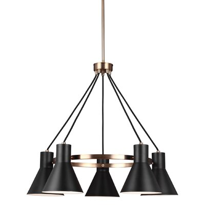 Alton 5-Light Modern Shaded Chandelier Finish: Satin Bronze