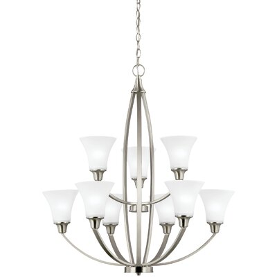 Irvona 9-Light Shaded Chandelier Finish: Brushed Nickel