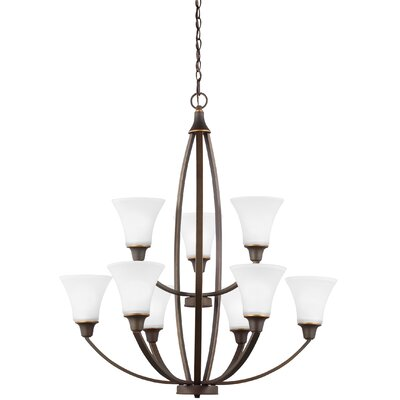 Irvona 9-Light Shaded Chandelier Finish: Autumn Bronze