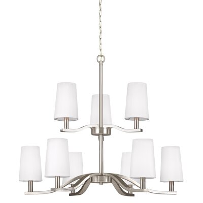 Brashears 9-Light Shaded Chandelier Finish: Brushed Nickel