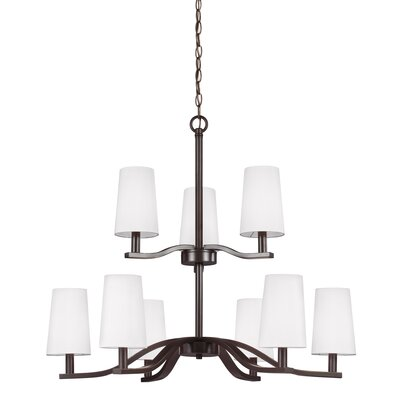 Nance 9-Light Shaded Chandelier Finish: Heirloom Bronze