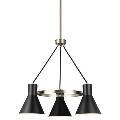 Alton 3-Light Modern Shaded Chandelier Finish: Brushed Nickel