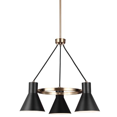 Alton 3-Light Modern Shaded Chandelier Finish: Satin Bronze