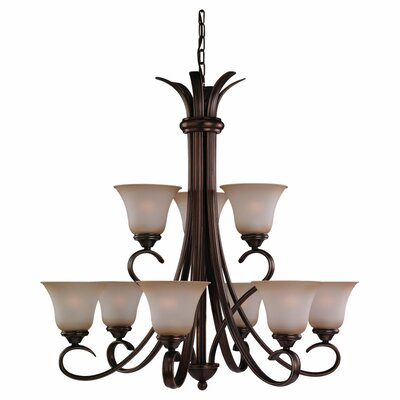 Hornellsville 9-Light Ginger Glass Shaded Chandelier