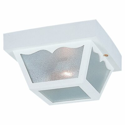 1-Light Flush Mount Size: 10.25 H x 10.25 W x 5.5, Finish: White