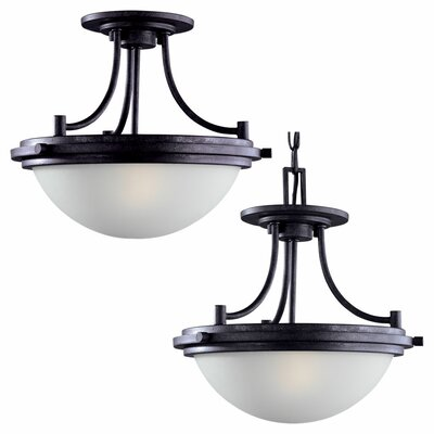 Huntingdon 2-Light Convertible Inverted Pendant Finish: Blacksmith, Bulb Type: Incandescent A19 60W