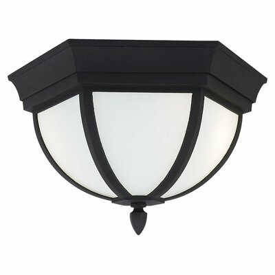 Ardsley Court 2-Light Flush Mount Bulb Type: Incandescent, Finish: Black, Shade Type: Clear Beveled