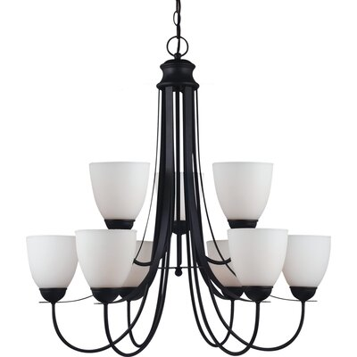 Uptown 9-Light Shaded Chandelier Bulb Type: 75 W A-19 Medium