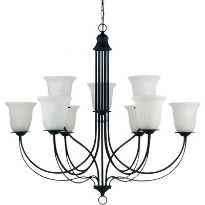 Plymouth 9-Light Shaded Chandelier Bulb Type: 100W Line Medium, Finish: Blacksmith with Sand Blasted Alabaster Glass