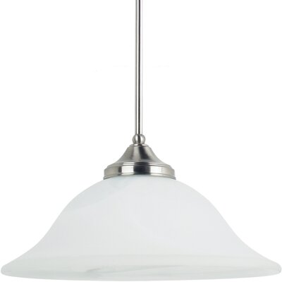 Brockton 1 Light Down Light Pendant Bulb Type: 100W Line Medium, Finish: Brushed Nickel with White Alabaster Glass