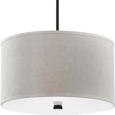 Akeem 3-Light Shade Pendant Finish: Burnt Sienna with Round Linen Shade, Bulb Type: 100W Line Medium
