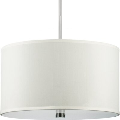 Akeem 3-Light Shade Pendant Finish: Brushed Nickel with Faux Silk Shade, Bulb Type: 100W Line Medium