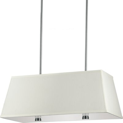 Akeem 4-Light Shade Pendant Finish: Brushed Nickel with Faux Silk Shade