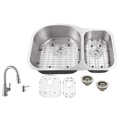 18 Gauge Stainless Steel 31.5 x 20.5 Double Basin Undermount Kitchen Sink with Arc Faucet