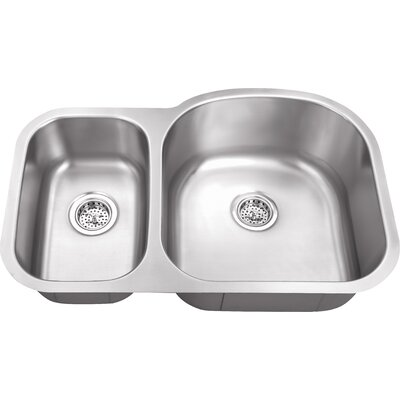 18 Gauge Stainless Steel 31.5 x 20.5 Double Basin Undermount Kitchen Sink