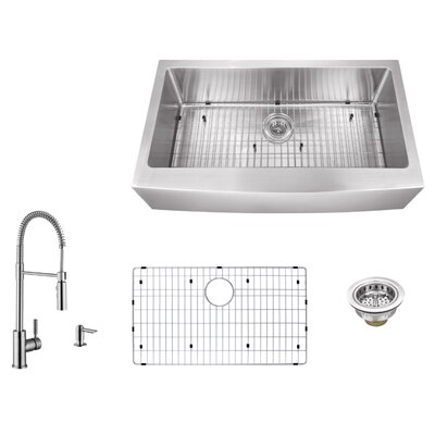 16 Gauge Stainless Steel 35.88 x 20.75 Farmhouse/Apron Kitchen Sink with Pull Out Faucet and Soap Dispenser