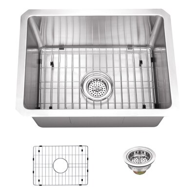16 Gauge Stainless Steel 20 x 15 Undermount Bar and Prep Sink with Grid Set and Drain Assembly