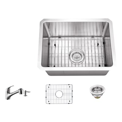 16 Gauge Stainless Steel 20 x 15 Undermount Bar and Prep Sink with Low Profile Pull Out Faucet