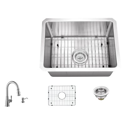 16 Gauge Stainless Steel 20 x 15 Undermount Bar and Prep Sink with Arc Faucet
