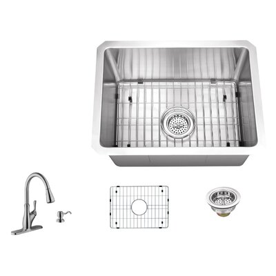 16 Gauge Stainless Steel 20 x 15 Undermount Bar and Prep Sink with Gooseneck Faucet