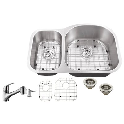 18 Gauge Stainless Steel 31.5 x 20.5 Double Basin Undermount Kitchen Sink with Low Profile Pull Out Faucet