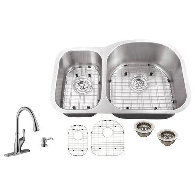 18 Gauge Stainless Steel 31.5 x 20.5 Double Basin Undermount Kitchen Sink with Gooseneck Faucet