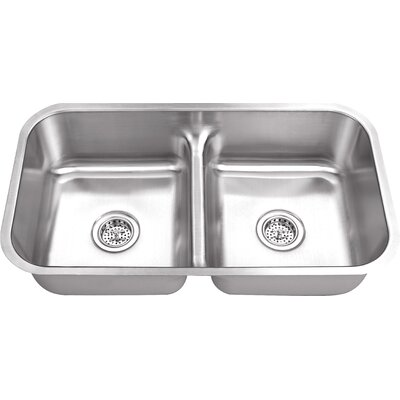 18 Gauge Stainless Steel 32.5 x 18.13 Double Basin Undermount Kitchen Sink