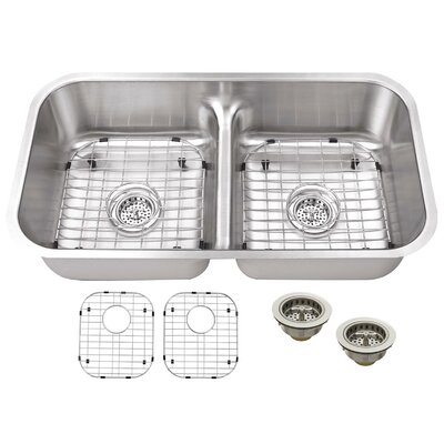 18 Gauge Stainless Steel 32.5 x 18.13 Double Basin Undermount Kitchen Sink with Grid Set and Drain Assembly