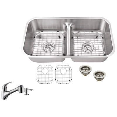 18 Gauge Stainless Steel 32.5 x 18.13 Double Basin Undermount Kitchen Sink with Low Profile Pull Out Faucet
