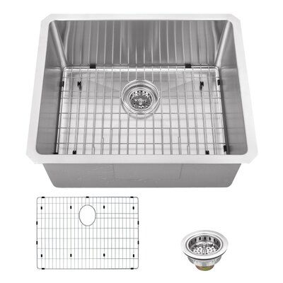 16 Gauge Stainless Steel 23 x 19 Undermount Bar Sink with Grid Set and Drain Assembly
