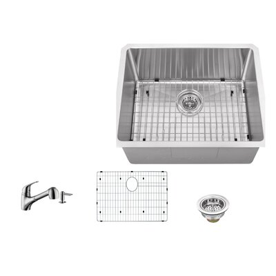 16 Gauge Stainless Steel 23 x 19 Undermount Bar Sink with Low Profile Pull Out Faucet