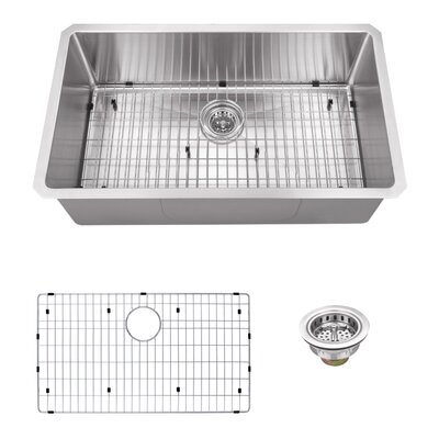16 Gauge Stainless Steel 32 x 19 Undermount Kitchen Sink with Grid Set and Drain Assembly