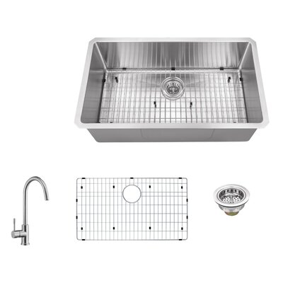 16 Gauge Stainless Steel 32 x 19 Undermount Kitchen Sink with Gooseneck Faucet