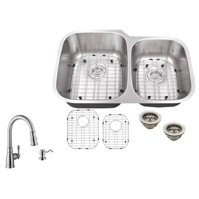 32 x 20-3/4 16 Gauge Stainless Steel Double Bowl Kitchen Sink with Arc Kitchen Faucet