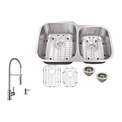16 Gauge Stainless Steel 32 x 20.75 Double Basin Undermount Kitchen Sink with Pull Out Faucet and Soap Dispenser