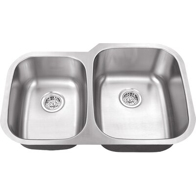 16 Gauge Stainless Steel 32 x 20.75 Double Basin Undermount Kitchen Sink