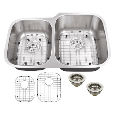 16 Gauge Stainless Steel 32 x 20.75 Double Basin Undermount Kitchen Sink with Grid Set and Drain Assembly