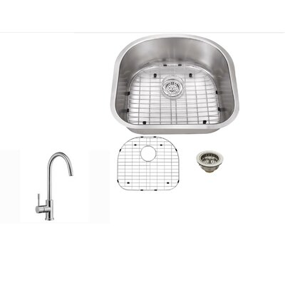 16 Gauge Stainless Steel 23.25 x 20.88 Undermount Kitchen Sink with Gooseneck Faucet