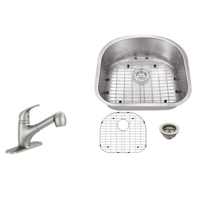 18 Gauge Stainless Steel 23.25 x 20.88 Undermount Kitchen Sink with Low Profile Pull Out Faucet