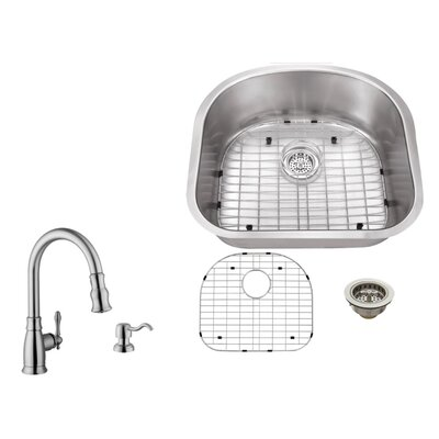 18 Gauge Stainless Steel 23.25 x 20.88 Undermount Kitchen Sink with Arc Faucet