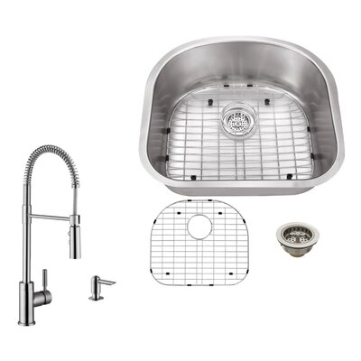 18 Gauge Stainless Steel 23.25 x 20.88 Undermount Kitchen Sink with Pull Out Faucet and Soap Dispenser