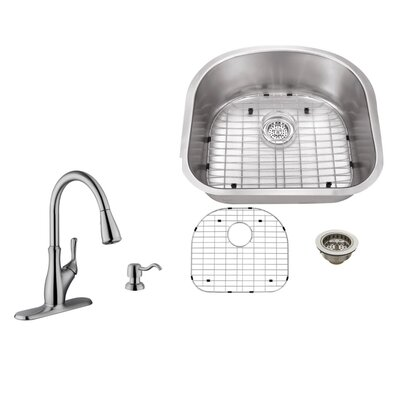 18 Gauge Stainless Steel 23.25 x 20.88 Undermount Kitchen Sink with Gooseneck Faucet