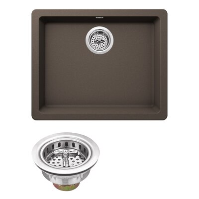 Quartz 21.65 x 16.92 Undermount Kitchen Sink with Twist and Lock Strainer Finish: Mocha Brown