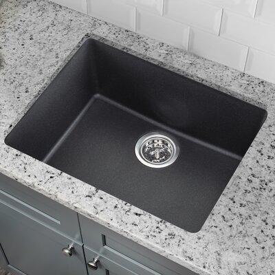 Quartz 21.65 x 16.92 Undermount Kitchen Sink with Twist and Lock Strainer Finish: Onyx Black