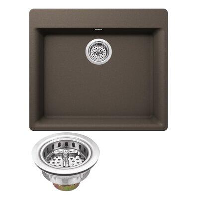 Quartz 23.63 x 20.88 Drop-In Kitchen Sink with Twist and Lock Strainer Finish: Mocha Brown