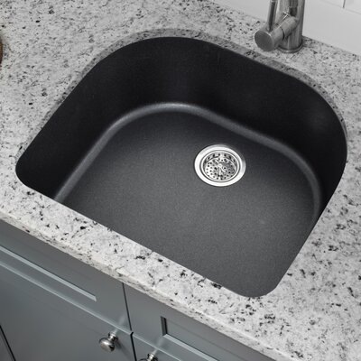 Quartz 25 x 22 Undermount Kitchen Sink with Twist and Lock Strainer Finish: Onyx Black