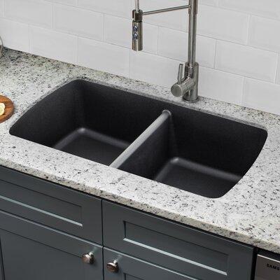 Quartz 33.75 x 18.94 Double Basin Undermount Kitchen Sink with Twist and Lock Strainer Finish: Onyx Black