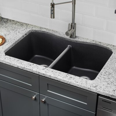 Quartz 32.5 x 20 Double Basin Undermount Kitchen Sink with Twist and Lock Strainer Finish: Onyx Black