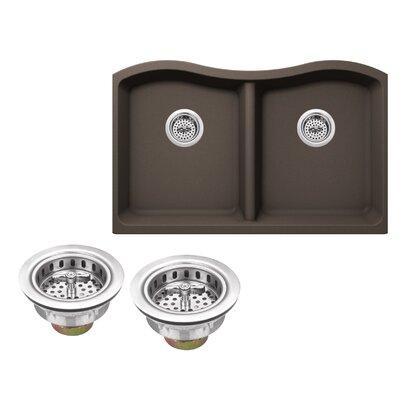 Quartz 32.5 x 20 Double Basin Undermount Kitchen Sink with Twist and Lock Strainer Finish: Mocha Brown